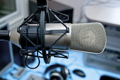 Microphone in broadcasting studio